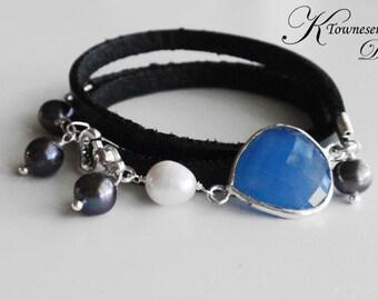 Leather Wrap Cuff Bracelet Blue Chalcedony Gemstone Bezel Freshwater Pearl Accent Charm Jewelry KTownesend