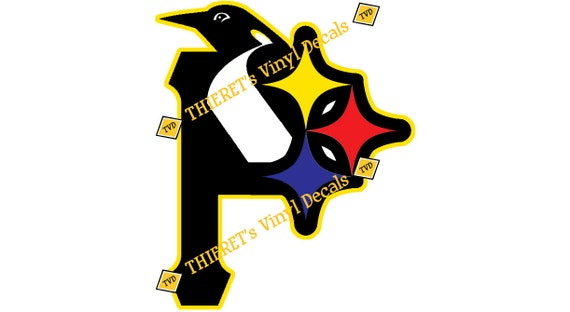 Pittsburgh sports teams tri logo vinyl car decal laptop decal