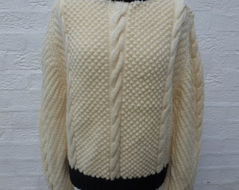 Cable top sweater women's pullover vintage clothing crop jumper cream and black chunky knit fisherman sweater handmade UK 1980s Small mens.