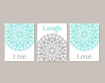 Live Laugh Love Wall Art, Prints Or Canvas, Aqua Gray, Bedroom Wall Decor, Bedroom Pictures, Dahlia Flower Wall Art, Set of 3