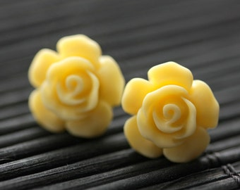 Butter Yellow Flower Earrings. Yellow Earrings. Gardenia Flower Earrings. Bronze Post Earrings. Yellow Rose Earrings. Handmade Earrings