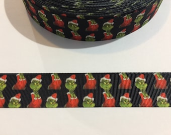 "3 Yards of 1"" Ribbon - Christmas Grinch"