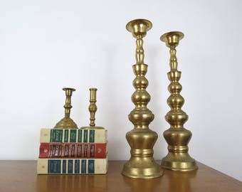 Pair of Tall Brass Candlesticks // Vintage Decorative Mantle Fireplace Candle Holders 18 Inch Size Homco Japan Hollywood Regency Decor