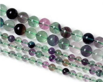 8 x 10 mm Rainbow fluorite round bead