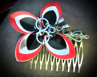 Scale and chain mail Butterfly Hair Comb