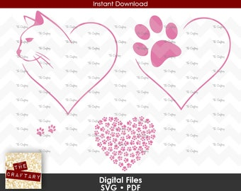 Cat Love | Cat Hearts Paws | SVG Files