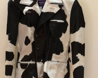 Exquisite Jacket by RALPH LAUREN COLLECTION - Size 2 - Cow print, leather and fur jacket