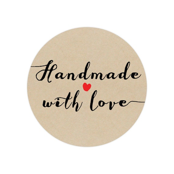 Handmade with Love Stickers - Circle Stickers - Handmade with love - Store  Supplies - Kraft Stickers - Custom Stickers