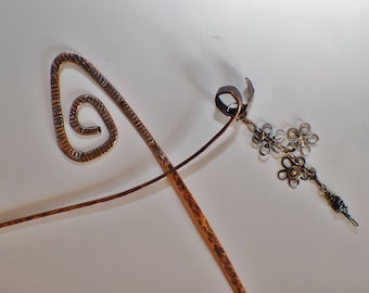 From the 'Summer's Daisies' Collection, hair jewelry, hair spikes, 2 hair spikes in sterling silver and copper, for long thick or thin hair