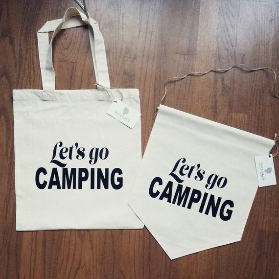 "Handmade ""Lets Go Camping"" Tote Bag - Handmade Custom Tote Bag"