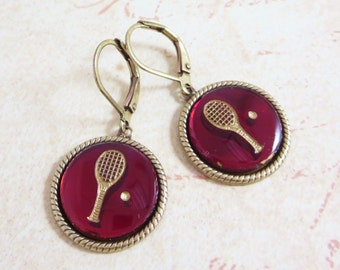 Tennis Earrings Tennis Racket Ear Dangles Sports Jewelry Vintage Glass Intaglio Ruby Red