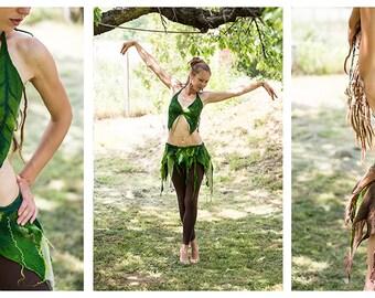Festival leaves top.Felt leaves bra. Fairy costume.Elf pixie festival green top.