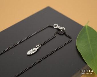 Chaîne noire en acier inoxydable,  chaine gourmette, longueur au choix,  chaîne longue noire, chaîne ajustable pour pendentif amovible