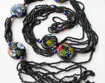 Very Long Art Deco Venetian Millefiori Glass Bead Flapper Necklace, Seed Beads,  Vintage Sautoir Flapper