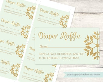 diaper raffle tickets printable baby shower DIY mint green gold glitter snowflakes gender neutral digital shower games - INSTANT DOWNLOAD