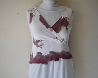 Women's Blood Splatter Crop Top Bloodied Crossover Neck Wasteland Wastelander Dystopian Zombie Apocalypse Cosplay Costume Women's Large