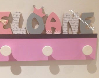 Name personalized integrated ELOANE entirely hand made wooden coat rack
