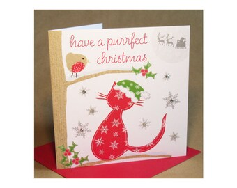 Christmas Cat Card  (jewelled)