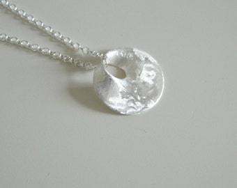 Disc Necklace, Sterling Silver, Hand Hammered