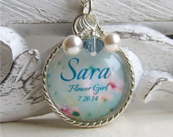 Flower Girl Necklace, Name Necklace, Personalized Flower Girl Necklace