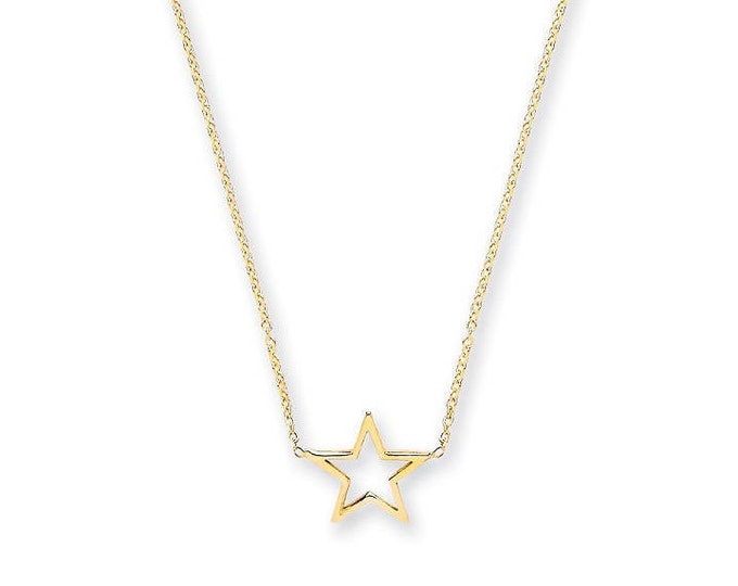 """9ct Yellow Gold Star Pendant on Adjustable 16""""-18"""" Rolo Chain Necklace"""