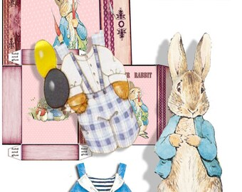 Peter Rabbit Paper doll with storage box printable download two sheets collage clothes and rabbit with box craft project