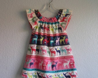 Little Girls Reindeer Dress - Flannel Dress with Colorful Reindeer - Toddler Girls Flutter Sleeve Dress - Size 12m, 18m, 2T, 3T, 4, 5 or 6