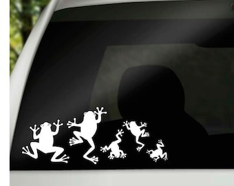 Frog Family Car Window Vinyl Decals, car family stickers, frog lovers birthday gift, silhouette car family window cling, window sticker