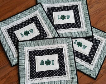 SALE Handmade Patchwork Place Mats Embroidered and Applique, Lucky of the Irish, featuring Shamrocks and Quilted