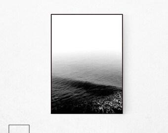 Ocean Poster, Black and White Ocean Print, Sea Poster, Black White Ocean, Beach Print, Beach Decor, Scandinavian Print, Sea Print, Sea Photo