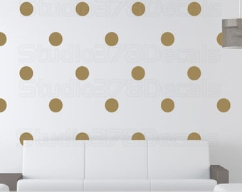 Gold Polka Dot Decals - Polka Dots Vinyl Wall Decals for Baby Nursery - Gold Wall Dots - Trend Decor - Circle Wall Decals - 5in - Set of 40