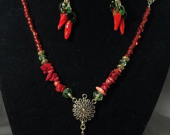 Chili Pepper Necklace Set