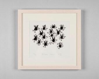 Fifteen Crows - Linocut print, birds, bird, crow, nature, black and white, wildlife, flock, linoprint, printmaking, handmade, original art,