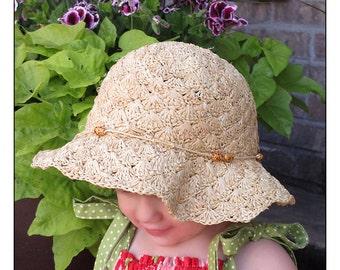 Simply Shells Summer Straw Hat Crochet Pattern (316)