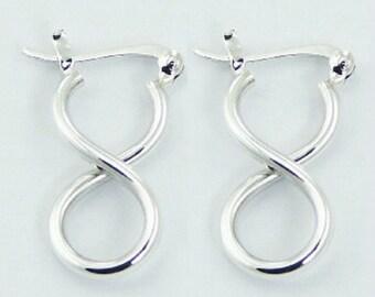 Fine Pair Twisted Hoop Infinity Earrings Hoops Sterling Silver