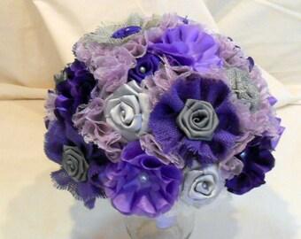 Purple/Gray Wedding Bouquet, Bridal Bouquet, Burlap Bouquet, Fabric Bouquet, Keepsake Bouquet, Bridesmaid Bouquet, Rustic Bouquet