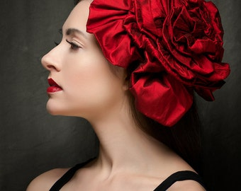 Fascinator Headpiece Red as the Reddest Rose