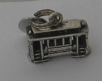 SALE Vintage  Sterling Silver Cable Car Charm