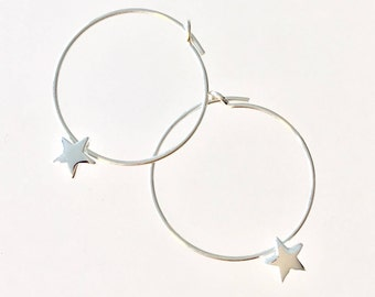 Star Hoop Earrings Small Hoop Earrings Sterling Silver Hoop Earrings Teen Earrings Small Hoops Cute Earrings Daughter Earrings Silver Stars