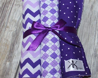 Custom Purple Burp Cloth Set - You pick your colors
