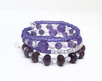 Purple Multistrand Gemstone Bracelet, Stone Coil Bracelet Jewelry, Amethyst February Bracelet, Birthday Gift for Her / One Size Fits Most
