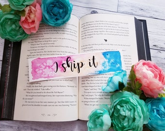 I Ship It Watercolor Bookmark, Gift For Booklover, Traveler, Wanderlust