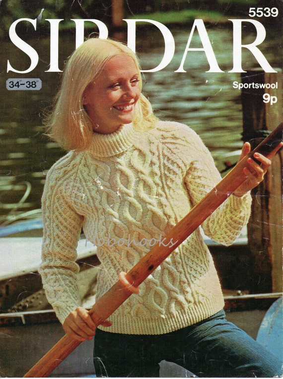 Womens Aran Sweater Knitting Pattern Pdf Ladies Polo Neck