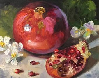 Beautiful Pomegranate, 8x8 Oil on Board