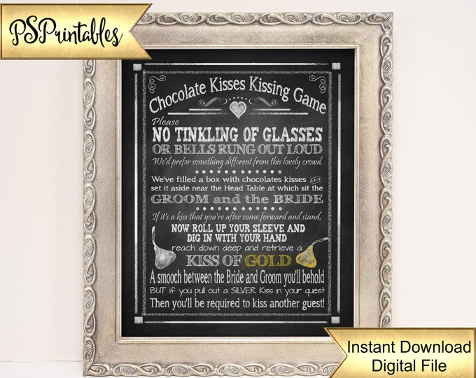 Chocolate Kisses Game Wedding Sign | PRINTABLE No Tinkling of Glasses size, Wedding Games Sign, Wedding Kisses Game, Candy Kisses game sign