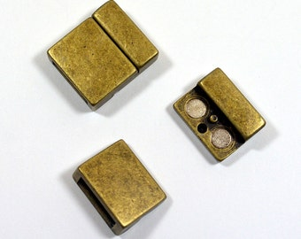 13mm Smooth Magnetic Flat Leather Clasps - Antique Brass - Choose Your Quantity