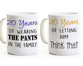 20th Anniversary Gift - Couples Coffee Mugs Cups - His and Hers Coffee Mugs - 20 Years Married - Wedding Anniversary Mugs