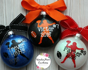 Football Player Personalized Ornament; Football Coach Ornament; Personalized Football Christmas Ornament; Football Team Christmas Ornament