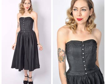 Vintage 1950's Black Strapless Fit and Flare Dress/ 50's Black Prom Dress Size X-small