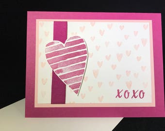 Heart XOXO Valentine's or Love Card